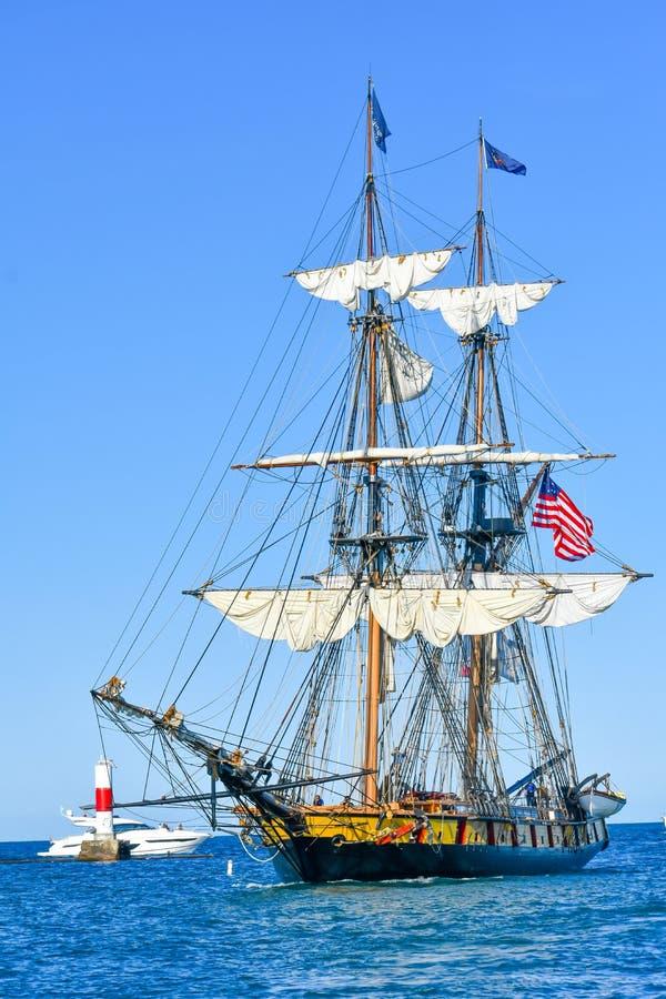 Tall Ships Parade On Lake Michigan in Kenosha, Wisconsin stock photo