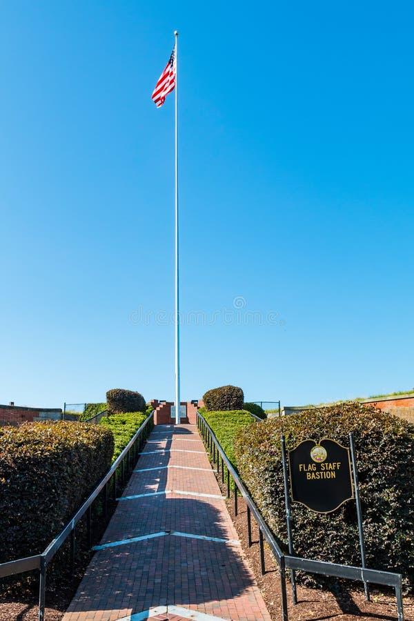 Flagstaff προμαχώνας στο οχυρό Μονρόε σε Hampton, Βιρτζίνια στοκ εικόνες