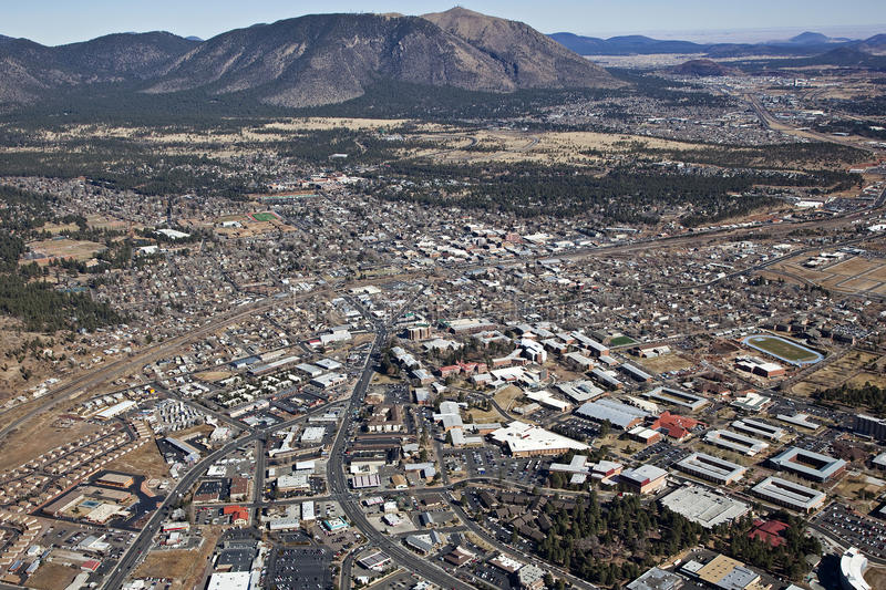 Flagstaff, Arizona. Aerial view of Flagstaff, Arizona and surrounding area royalty free stock image