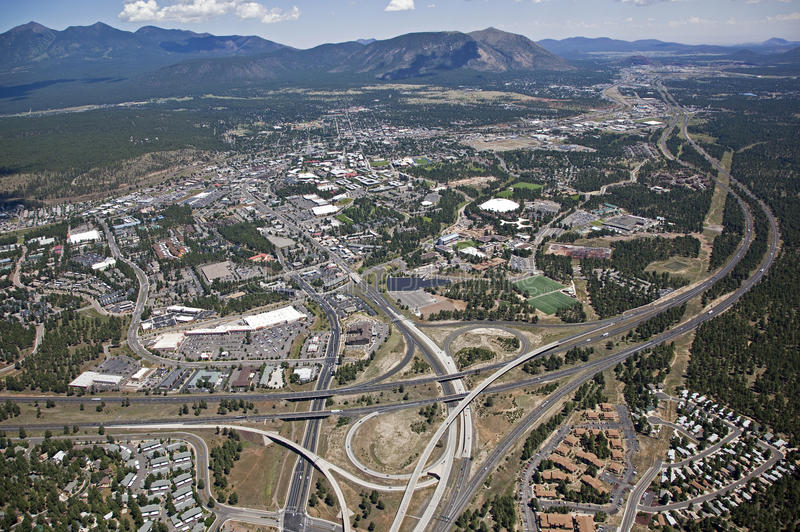 Flagstaff, Arizona. Aerial view of Northern Arizona University and Flagstaff, Arizona stock photos