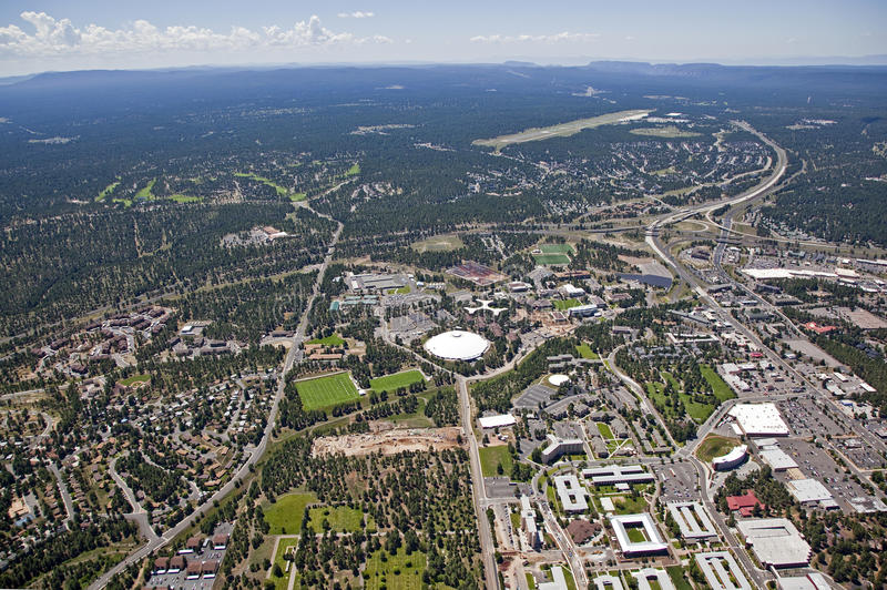 Flagstaff, Arizona. Aerial view of Northern Arizona University and Flagstaff, Arizona stock photo