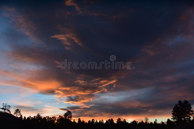 Flagstaff, Arizona Sky Scape 2, during first summer monsoon. Flagstaff, Arizona Sky Scape during first summer monsoon rain storm. Dry, Fire Hazard Summer time stock image