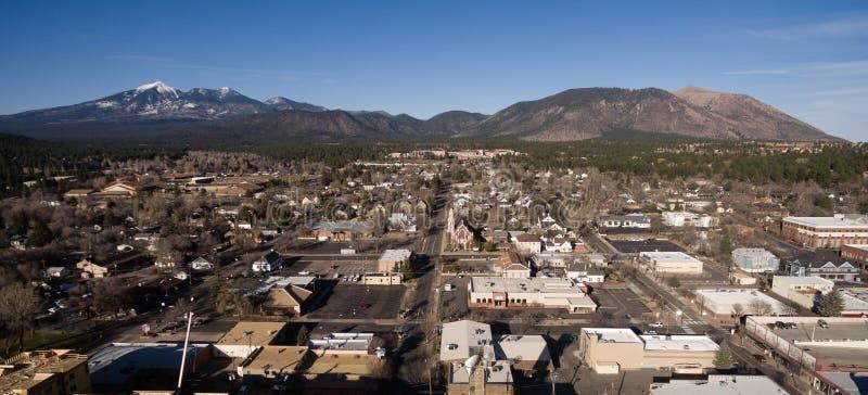 Flagstaff Arizona Town Skyline Aerial View Humphrey`s Peak stock photo