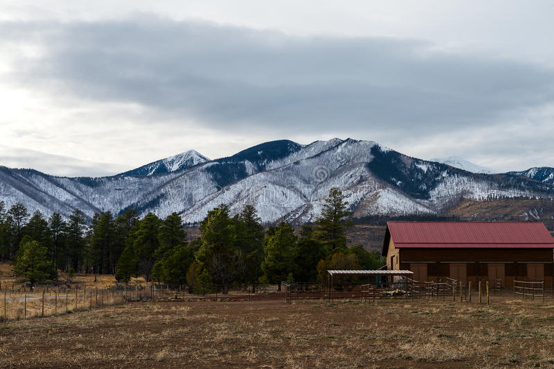 Flagstaff Arizona. In the winter, San Francisco peaks stock images