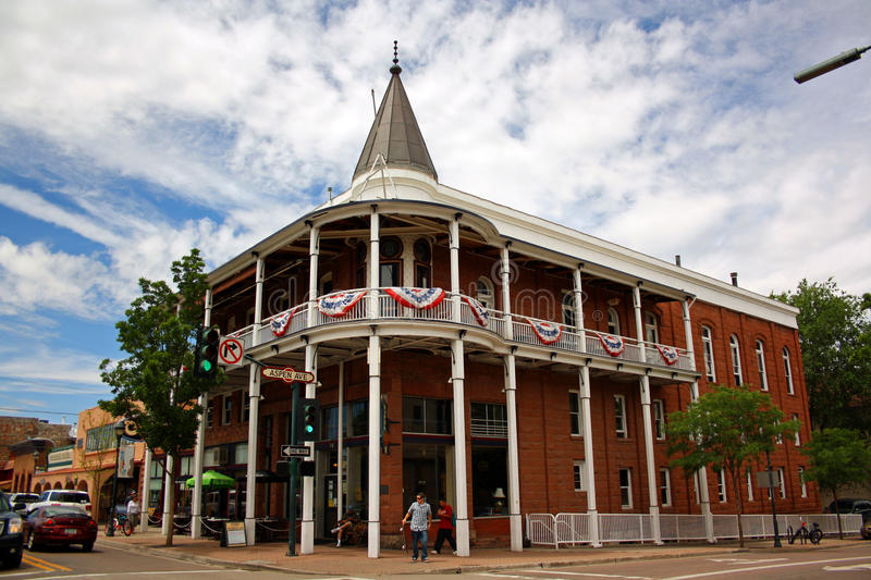 Flagstaff downtown. Weatherford Hotel in historic downtown Flagstaff, Arizona stock photo