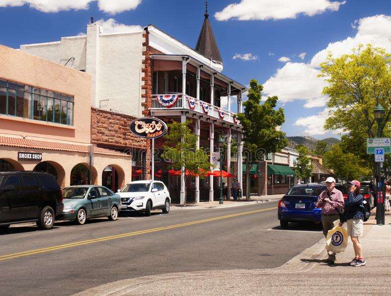 Flagstaff Downtown, Arizona, USA. Flagstaff - The historic Weatherford Hotel in downtown, street view. Flagstaff, Arizona. U.S stock photography