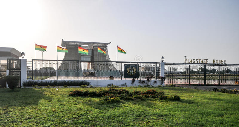 The Flagstaff House - Presidential Palace of Ghana. ACCRA, GHANA - APRIL 29, 2012: The Flagstaff House, commonly known as Flagstaff House, is the presidential stock image
