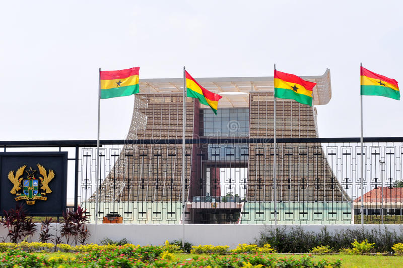 The Flagstaff House - Presidential Palace of Ghana. ACCRA, GHANA - FEBRUARY 23, 2012: The Flagstaff House, commonly known as Flagstaff House, is the presidential royalty free stock photo