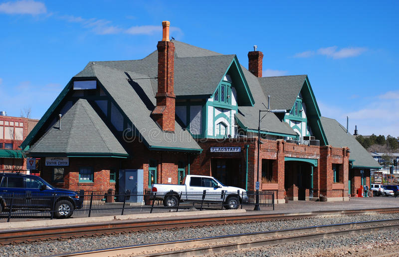 Flagstaff railway station. And visitor center on Route 66, Arizona royalty free stock photos