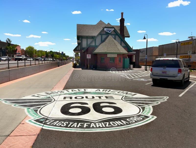 Flagstenga gościa centrum, trasa 66, Arizona, usa zdjęcie royalty free