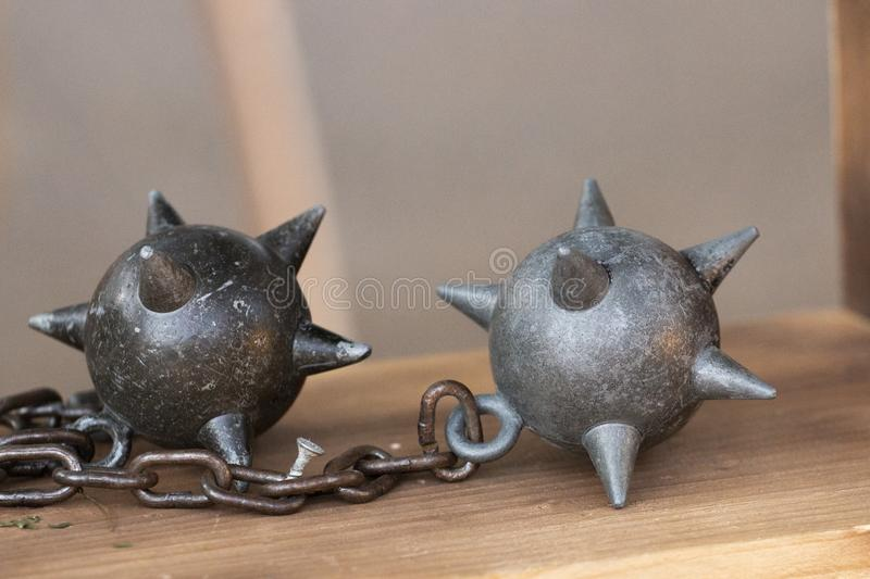 flail with spiked balls stock photography