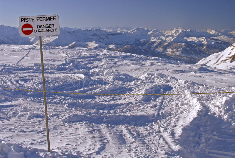 Download Flaine - Piste Closed, Danger Avalanche Stock Image - Image of blocked, stop: 108745