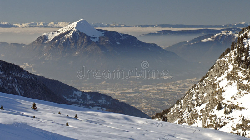 Flaine - sneeuwpiek stock foto's