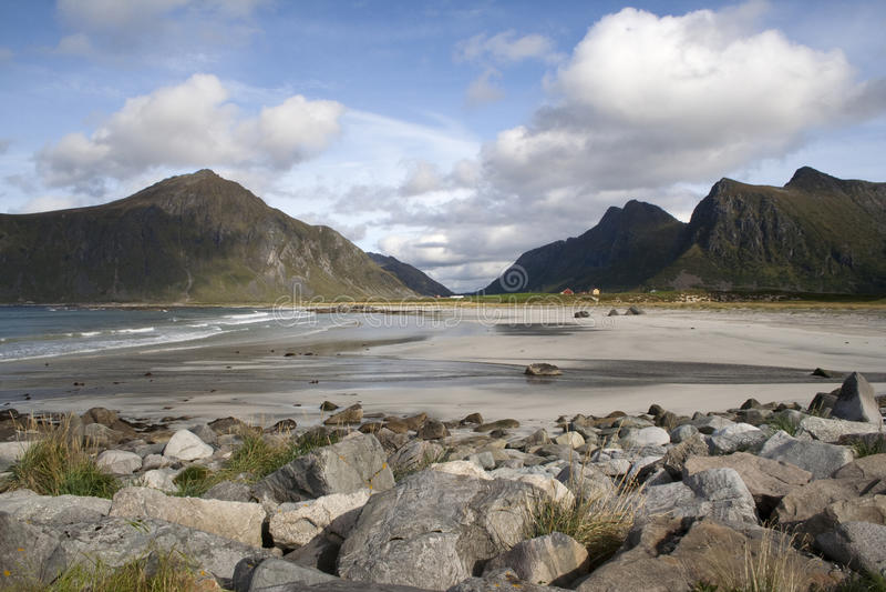 Flakstad Beach, Lofoten Islands, Norway, Scandinav. Flakstad Beach on the Lofoten Islands, Norway, Scandinavia royalty free stock images