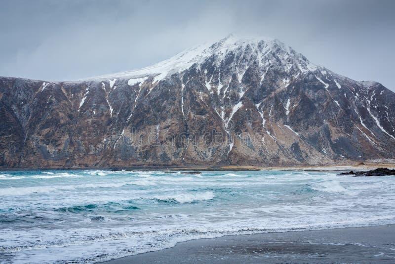 Flakstad beach, Lofoten, Norway. Flakstad beach, Flakstadoy island, Lofoten islands, Norway royalty free stock images