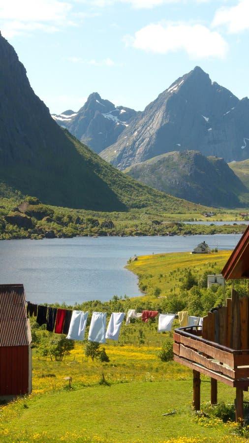 Flakstad's Landscape. Farm in Flakstad, Lofoten islands, norwegian arctic circle royalty free stock image