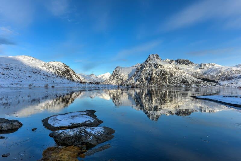 Flakstadoya, Lofoten-Eilanden, Noorwegen royalty-vrije stock foto's