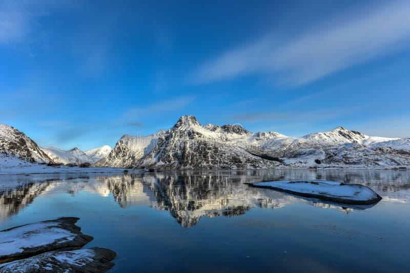 Flakstadoya, Lofoten-Eilanden, Noorwegen stock afbeelding