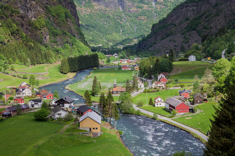 flam挪威村庄 免版税库存照片