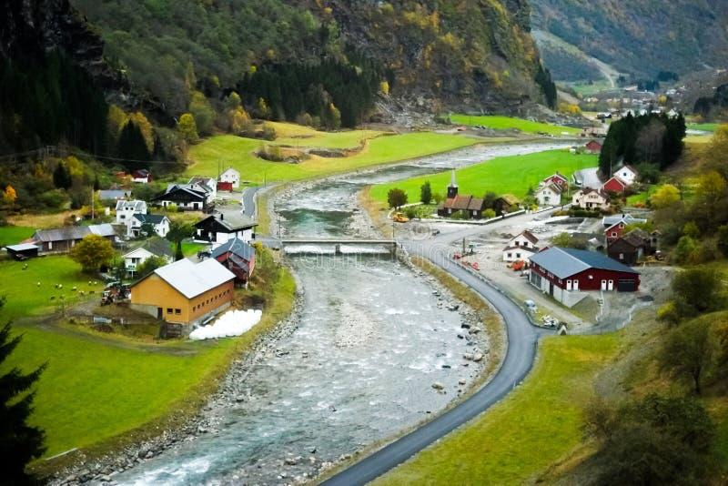 Flam村庄在挪威 免版税库存图片