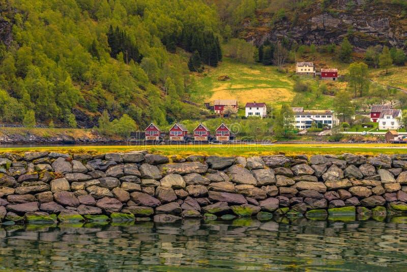 Flam,挪威- 2017年5月14日:Flam,挪威村庄  免版税库存图片