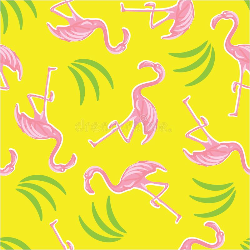 Pink flamingos and palm leaves seamless pattern. vector illustration