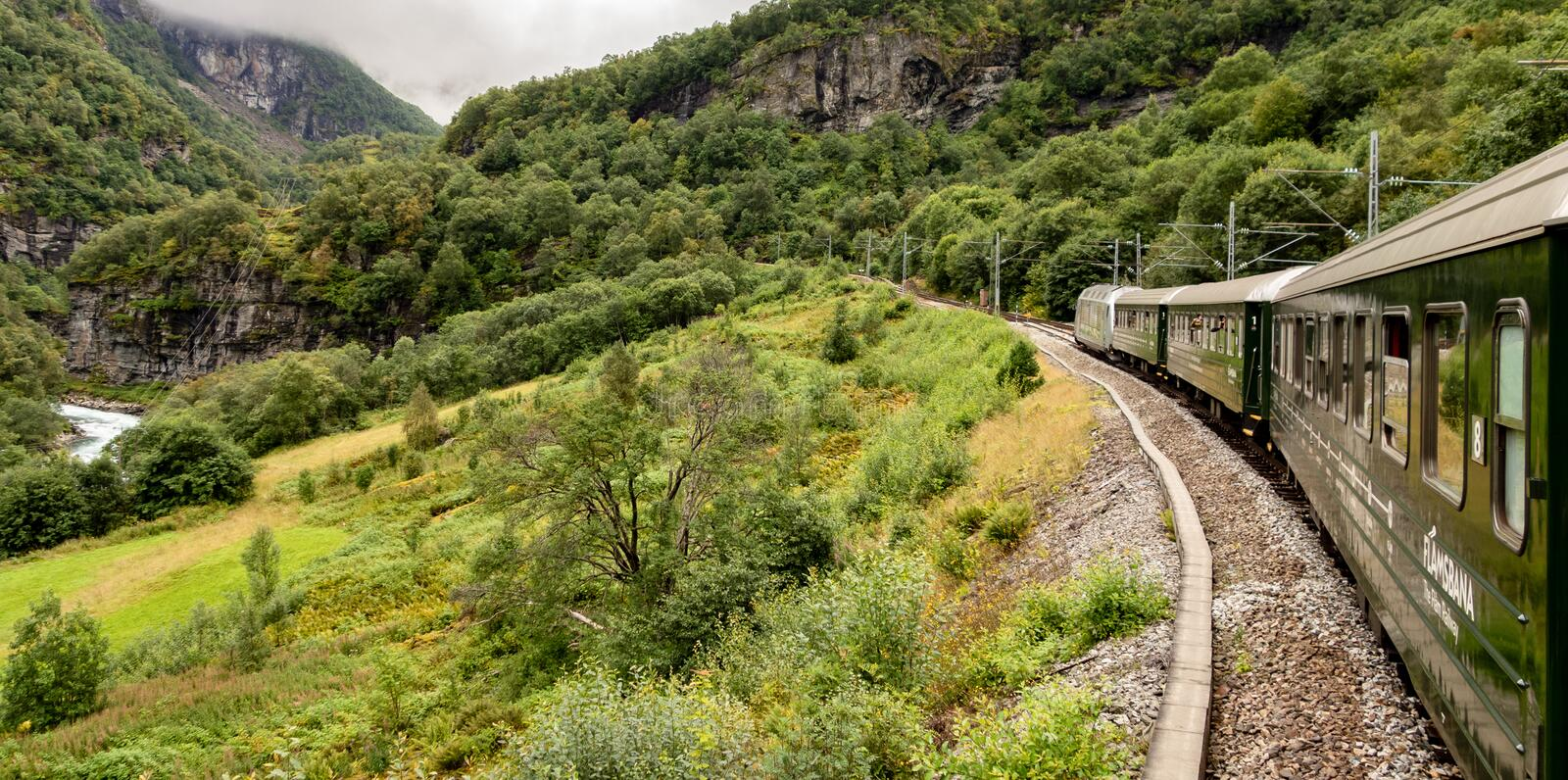 Flamsbana railroad track and train in Norway connecting Flam city and Myrdal station royalty free stock image