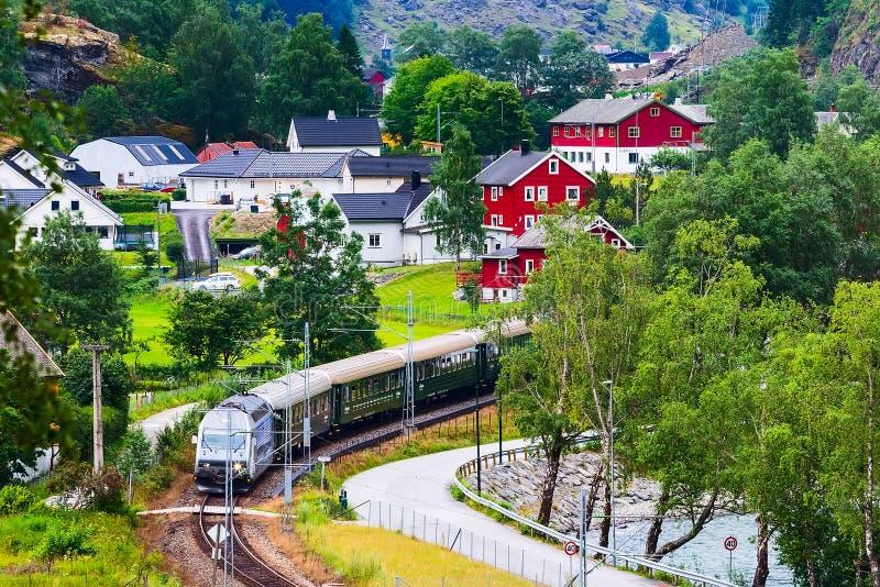 Flam, Norway train to Myrdal. Flam, Norway Myrdal train in Norwegian village near Sognefjord fjord, local landmark royalty free stock image