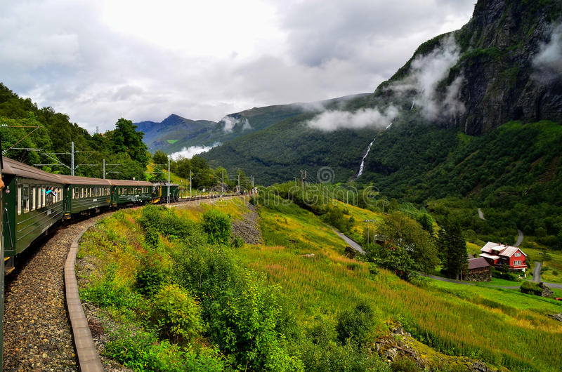 Flam train. Is going to Flam from Sognfjord through the perfect Norway`s landscape stock photography