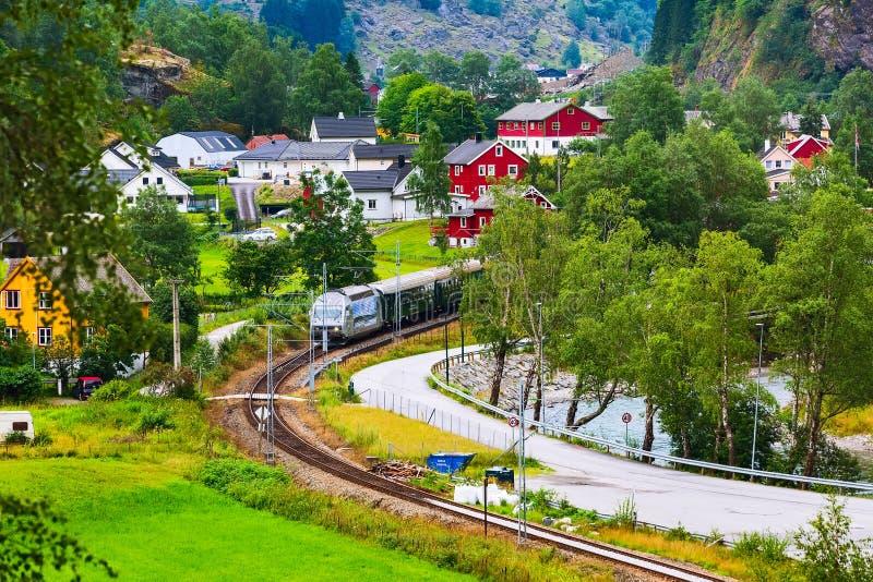 Flam, tren de Noruega a Myrdal foto de archivo libre de regalías