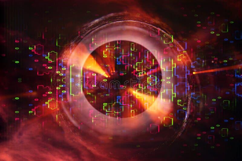 Flama abstracta de la lente imagen del concepto del fondo del viaje del espacio o del tiempo sobre colores oscuros y luces brilla ilustración del vector