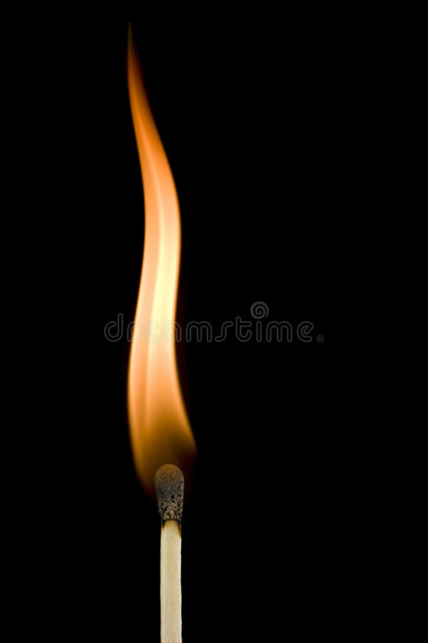 Flama ardente do matchstick fotografia de stock royalty free