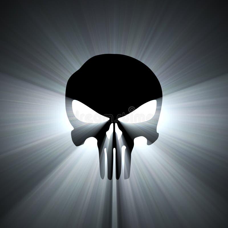 Flama de la luz blanca del símbolo del cráneo stock de ilustración