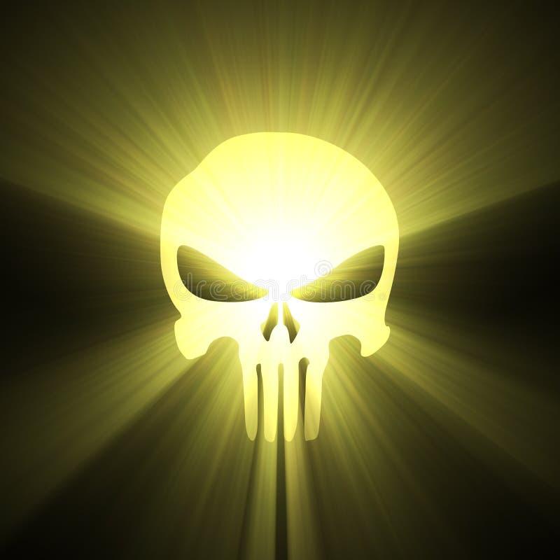 Flama de la luz del sol del símbolo del cráneo stock de ilustración