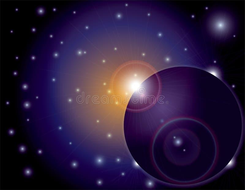 Flama de Sun del espacio exterior en fondo del planeta libre illustration