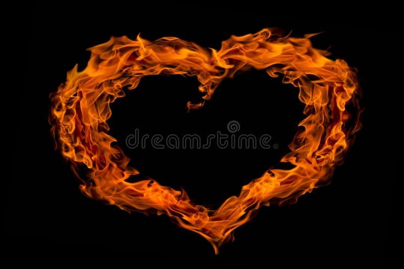 Flama do incêndio da forma do coração, isolada imagem de stock royalty free