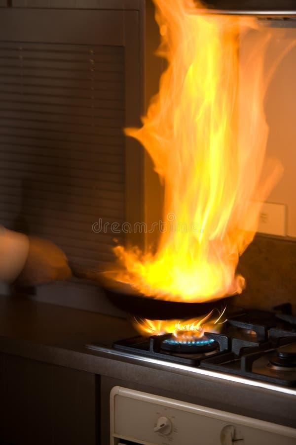 Flama fritada fotografia de stock