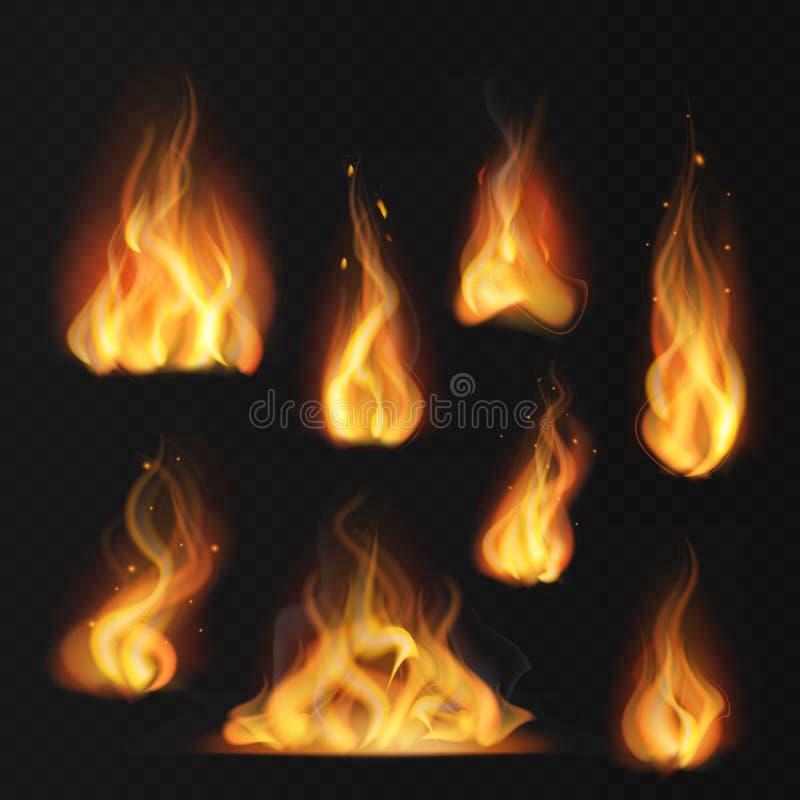 Flama realística Da tocha morna do sumário do efeito de fogo da bola de fogo chamas vermelhas que ardem o grupo isolado do vetor ilustração do vetor