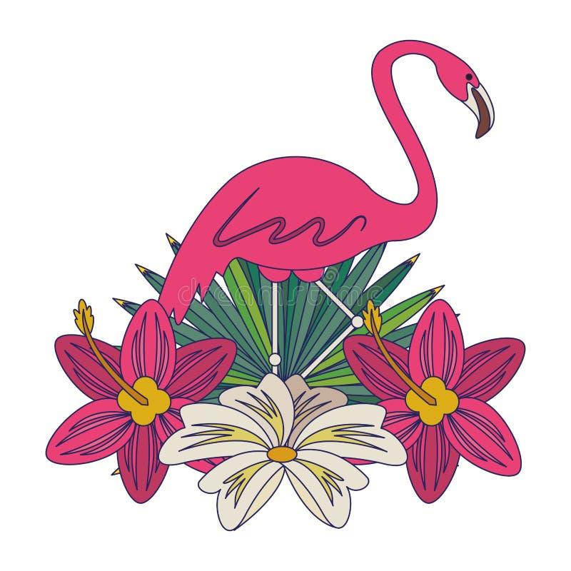 Flamand avec la bande dessinée d'icône de fleur illustration de vecteur