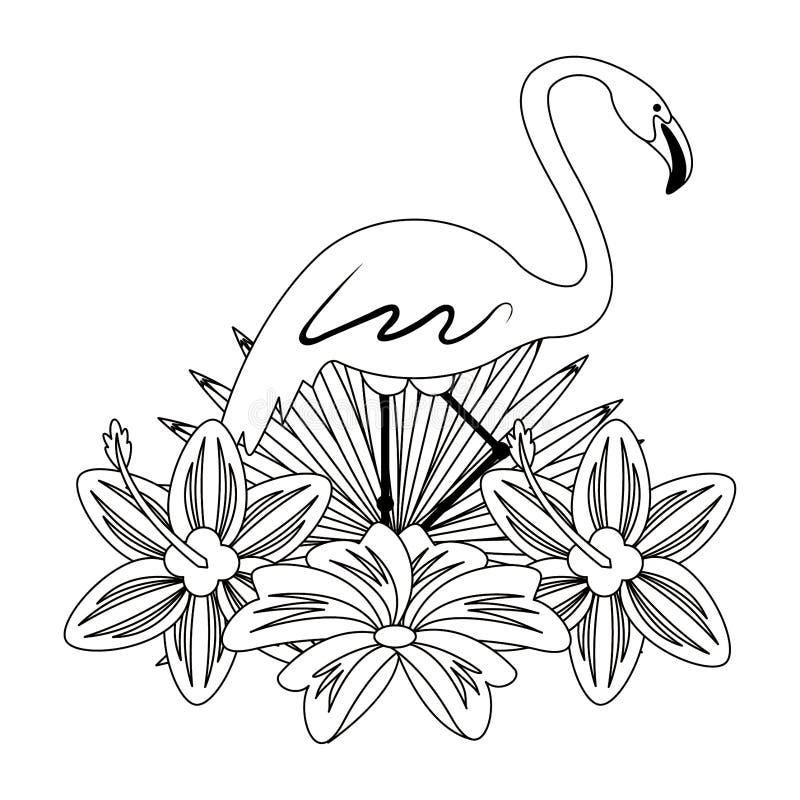 Flamand avec la bande dessinée d'icône de fleur en noir et blanc illustration stock