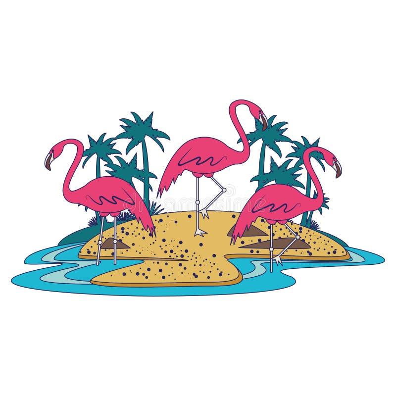Flamand sur la bande dessinée d'icône d'île illustration de vecteur