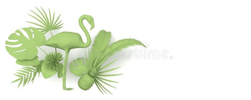 Flamant entouré par les usines exotiques tropicales Image verte monochrome sur un fond blanc Copiez l'espace rendu 3d illustration de vecteur