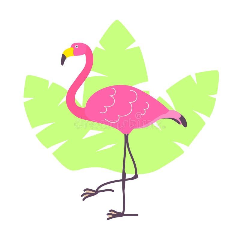 Flamant mignon de rose de bande dessinée et feuilles tropicales vertes d'isolement sur le fond blanc L'illustration de vecteur pe illustration libre de droits