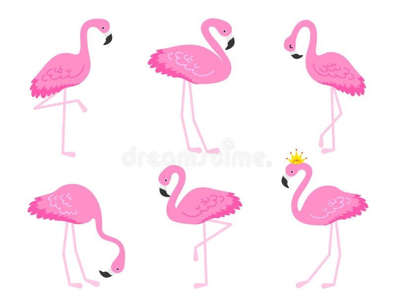 Flamant ou illustration tropicale d'oiseaux pour la carte de partie Fond exotique d'été Ensemble mignon de vacances de vintage illustration stock