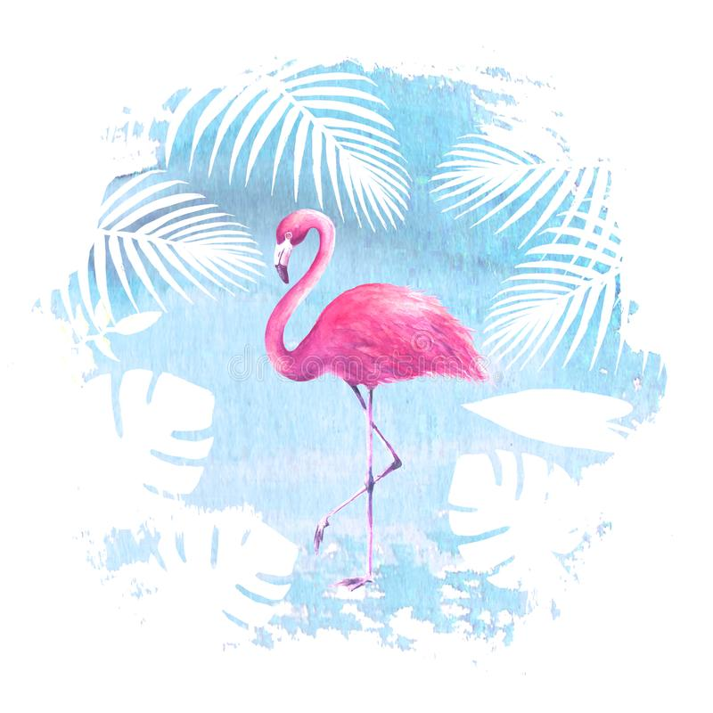 Flamant rose sur la tache bleue d'aquarelle illustration de vecteur