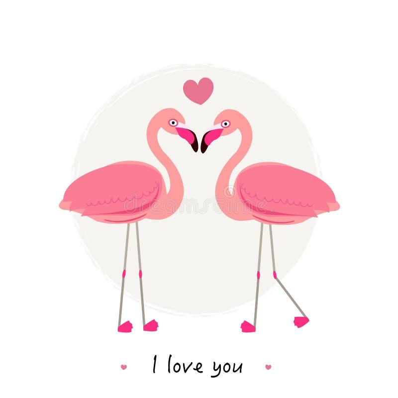 Flamants Couples des oiseaux tropicaux et exotiques Flamant de deux bandes dessinées sur l'ensemble blanc de fond `` je t'aime `` illustration de vecteur
