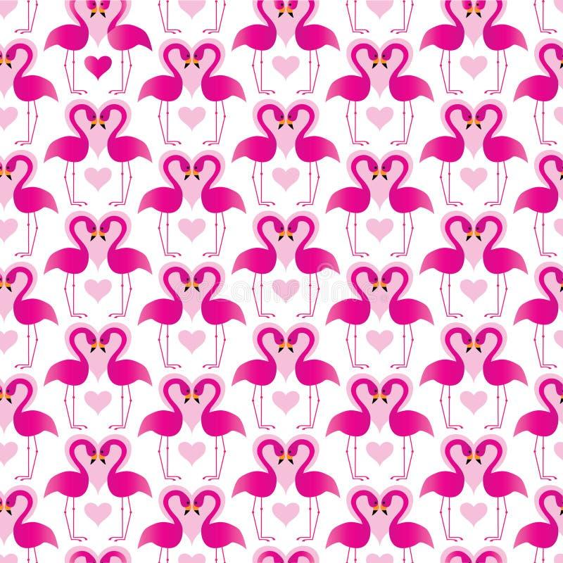 Flamants roses avec des coeurs illustration libre de droits