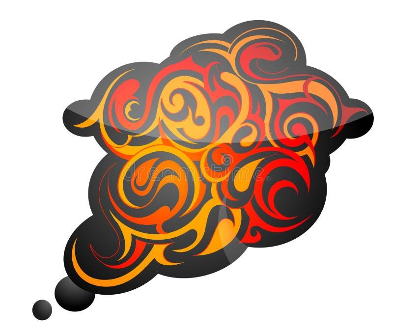 Flamas do incêndio com fumo ilustração royalty free