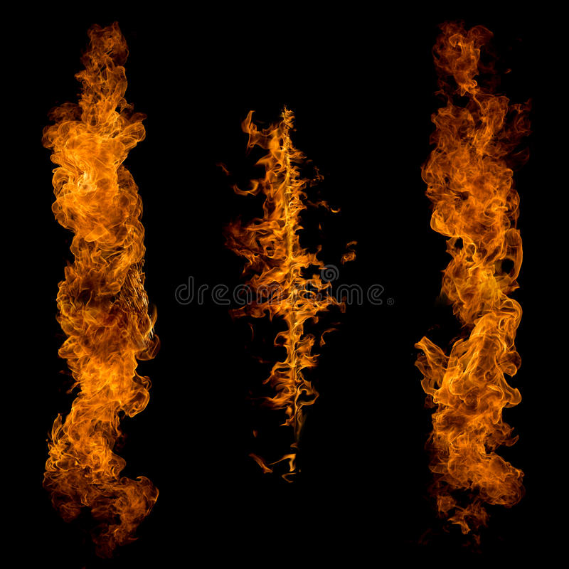Flamas do incêndio no fundo preto foto de stock royalty free