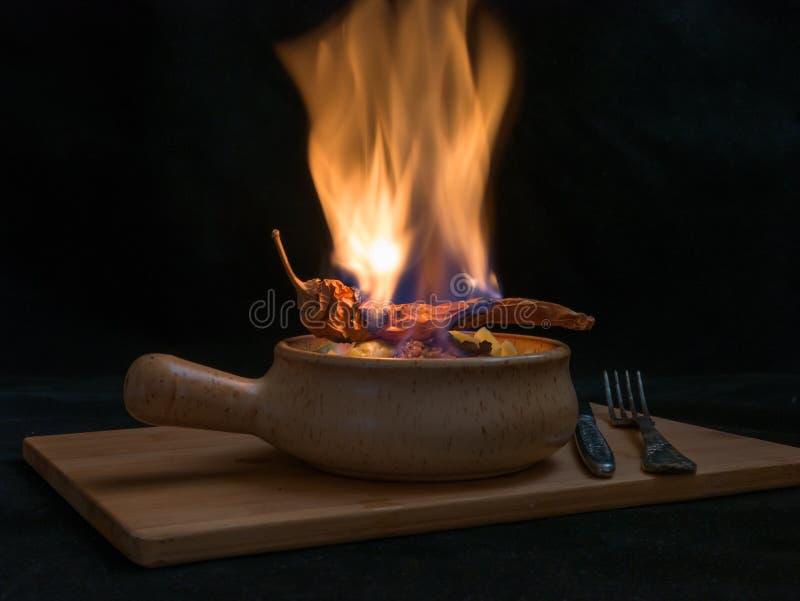 Flambe肉 库存图片